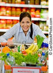 購入, 野菜, フルーツ, スーパーマーケット