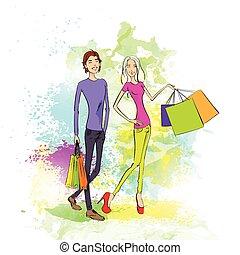 購物, 夫婦, 人和婦女, 由于, 袋子, 在上方, 鮮艷, 飛濺