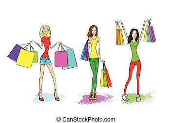 購物, 婦女, 由于, 袋子, 集合, 時裝, 女孩