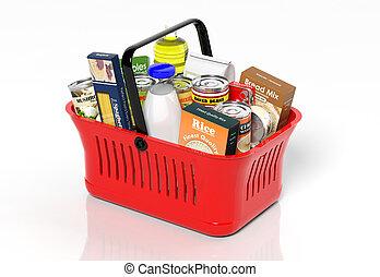 購物, 手, 籃子, 充分, 由于, 產品, 被隔离, 在懷特上