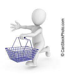 購物, 插圖, 人, 車, 人們。, 提供, 3d, sale., 小