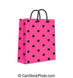 購物, 粉紅色, 被隔离, 繩子, 袋子, 紙, 矢量, 空白, handles., black.