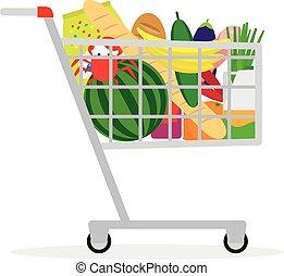 購物, 超級市場, 車
