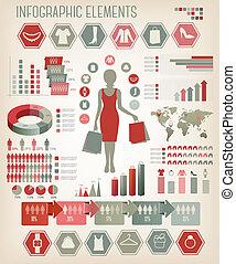 購物, infographics., vector.