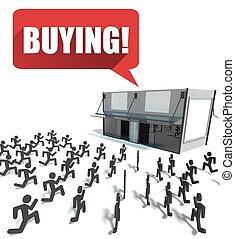 購買, 人群, ......的, 人們, 跑, 為, 購物