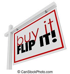 購買, 它, 用指輕彈, 它, 詞, 家房子, 待售, 房地產 標誌