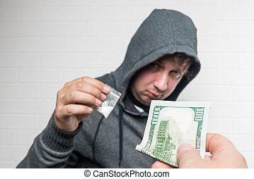 購買, 藥物, 劑量, 從, a, 毒品交易商, 在街道上, 手, 在, 特寫鏡頭