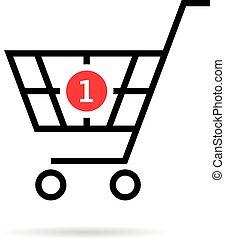 購買, 購物, 簡單, 車, 一, 黑色, 稀薄的線