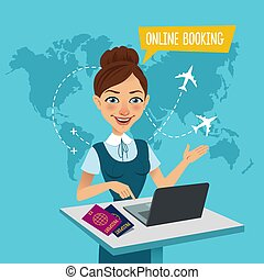購買, 飛行, 站立, banner., 旅行, booking., 代理, tickets., 在網上, 桌子, 做...