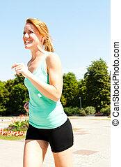 賽跑的人, -, 婦女跑, 在戶外, 訓練, 為, 馬拉松, 跑