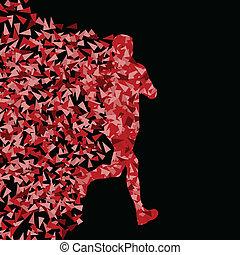 賽跑的人, 活躍, 運動, 黑色半面畫像, 背景, 插圖, 矢量, 概念, 做, ......的, 三角形, 碎片,...