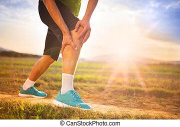 賽跑的人, 由于, 傷害, 膝蓋