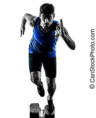 賽跑的人, 短跑運動員, 跑, 衝刺, 体育運動, 人, 黑色半面畫像, isola