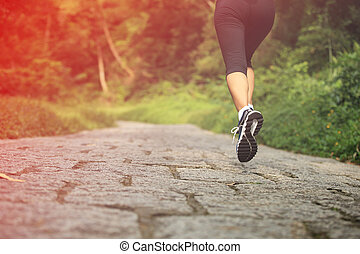 賽跑的人, 運動員, 跑, 上, 形跡