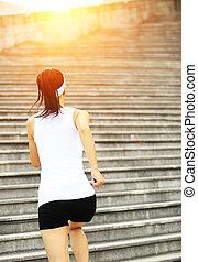 賽跑的人, 運動員, 跑, 上, 樓梯。