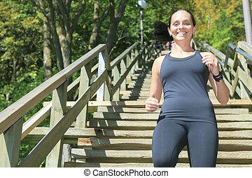 賽跑的人, 運動員, 跑, 上, 樓梯。, 婦女, 健身, 慢慢走, 測驗