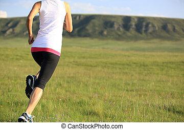 賽跑的人, 運動員, 跑, 上, 草