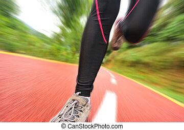 賽跑的人, 運動員, 跑, 上, trail.