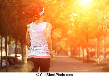 賽跑的人, 運動員, 跑, 在, 公園