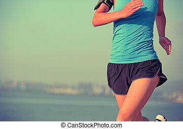 賽跑的人, 運動員, 跑, 在, 海邊