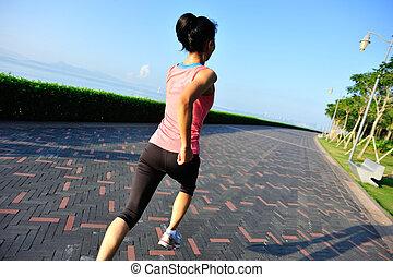 賽跑的人, 運動員, 跑, 在, seaside.