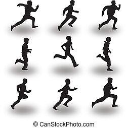 賽跑的人, 黑色半面畫像, 矢量
