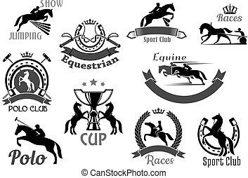 賽馬, 俱樂部, 象征, 或者, 矢量, 圖象, 集合