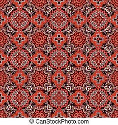 贅沢, カラフルである, 花, seamless, パターン, バックグラウンド。, 装飾用, ラウンド, レース, パターン, 円, 赤, 灰色, 黒い背景