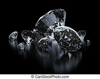 贅沢, ダイヤモンド, 上に, 黒, 背景, -, クリッピング道, included