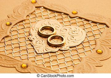 贅沢, ハンドメイド, 結婚式, カード, 要素