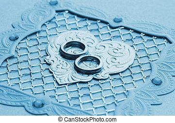 贅沢, ハンドメイド, 結婚式, カード, 要素, (toned, 中に, blue)