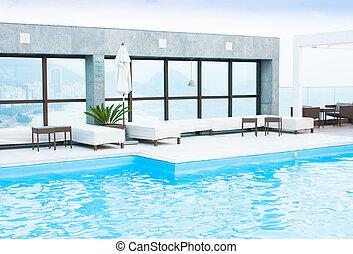 贅沢, プール, 水泳