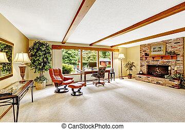 贅沢, 丸太小屋, 家, interior., 反響室, ∥で∥, れんが, fireplac