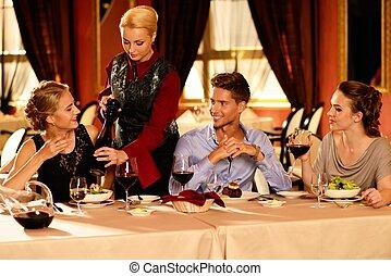 贅沢, 人々, 若い, グループ, 内部, レストラン