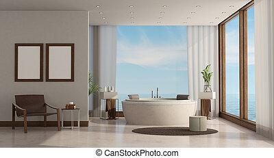 贅沢, 家, ミニマリスト, 海, 浴室