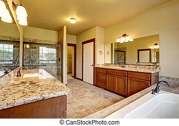 贅沢, 浴室, 内部, ∥で∥, 花こう岩, トリム, そして, 2, 虚栄心, cabinets.