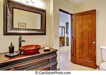 贅沢, 浴室, 虚栄心, キャビネット, ∥で∥, 容器, 流し