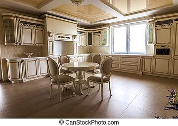 贅沢, 現代, フィットした, 台所, interior., 台所, 中に, ぜいたくな家, ∥で∥, ベージュ, cabinetry., テーブル, そして, 椅子