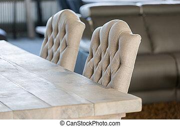 贅沢, 白, 椅子, そして, 木製のテーブル, 隔離された, ∥で∥, 選択的な 焦点