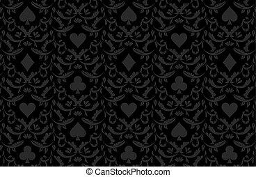 贅沢, 黒, ポーカー, 背景, ∥で∥, カード, シンボル
