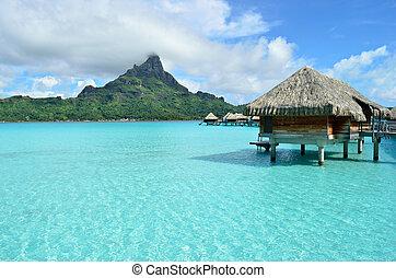 贅沢, overwater, 休暇, リゾート, 上に, bora bora