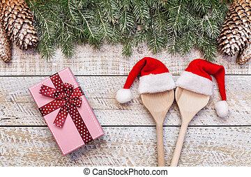 贈り物, お祝い, 食物, 季節, ホリデー, 準備, 装飾