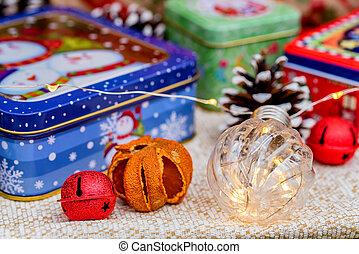 贈り物, の上, 箱, 装飾, 終わり, クリスマス