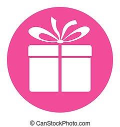 贈り物, アイコン, ピンク, 円