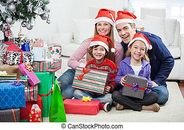贈り物, クリスマス, 家族, モデル