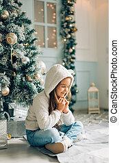 贈り物, クリスマス。, 請求, santa, 小さい, 女の子, クリスマス