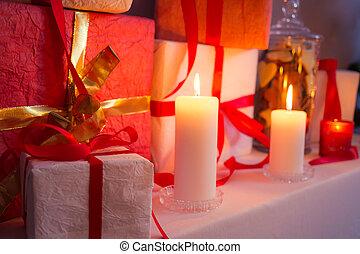 贈り物, クローズアップ, 木, クリスマス, キャンドルライト