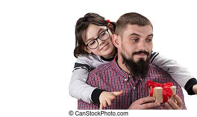 贈り物, コピー, 娘, 作成, 背景, space., 隔離された, 概念, 彼女, 父, 白, 日, 父
