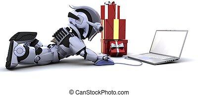 贈り物, コンピュータ, 買い物, ロボット