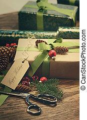 贈り物, テーブル, 木, タグ, ホリデー